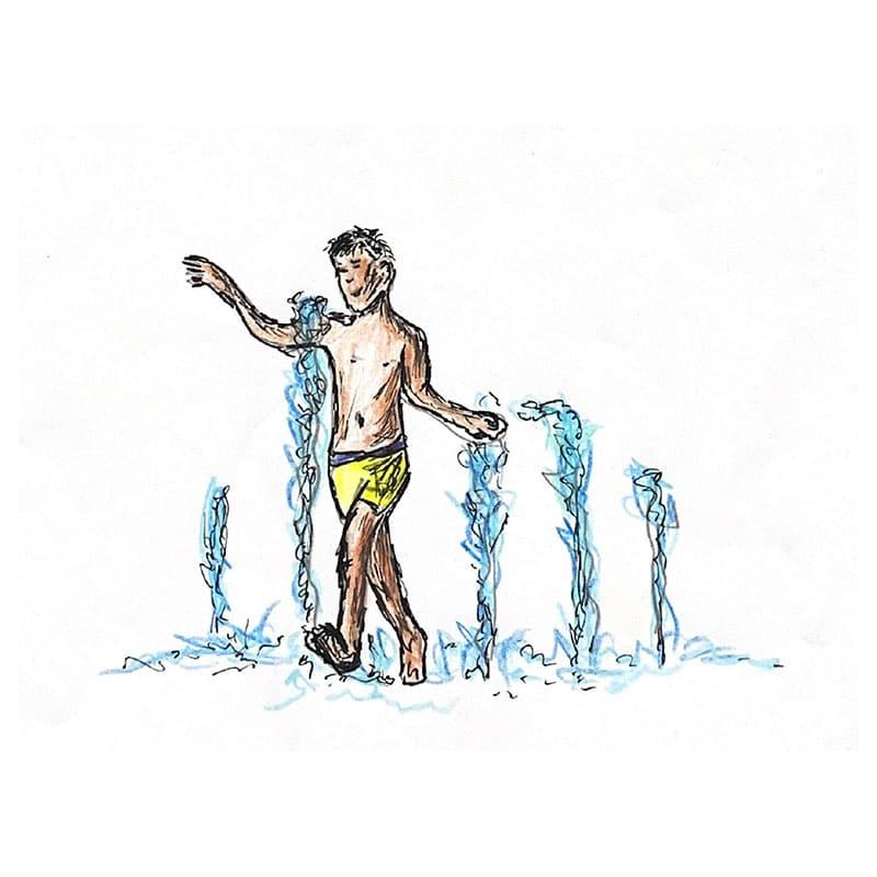 לרוץ יחפים בין ממטרות המים